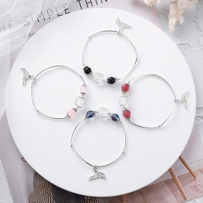 PS Mall 日韓甜美個性水晶珠子魚尾手鏈女士簡約情侶女生串珠手飾 【G2523】 3