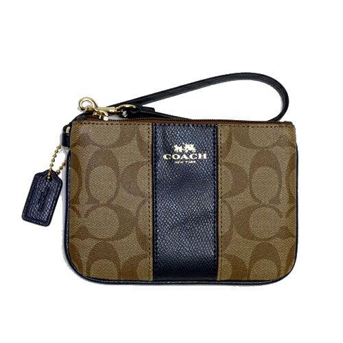 COACH52860卡其藍PVC皮革直條飾邊手拿包