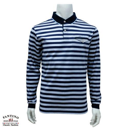 【FANTINO】男裝 65支雙絲光棉polo衫(藍橫條) 641103 0
