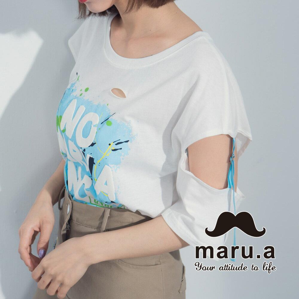 【maru.a】塗鴉風文字割破感T-shirt 8311220 4