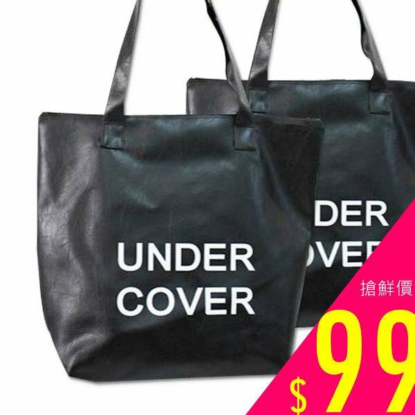 AKI CHIC【b103】韓款簡約時尚黑色字母pu皮手提側肩包袋