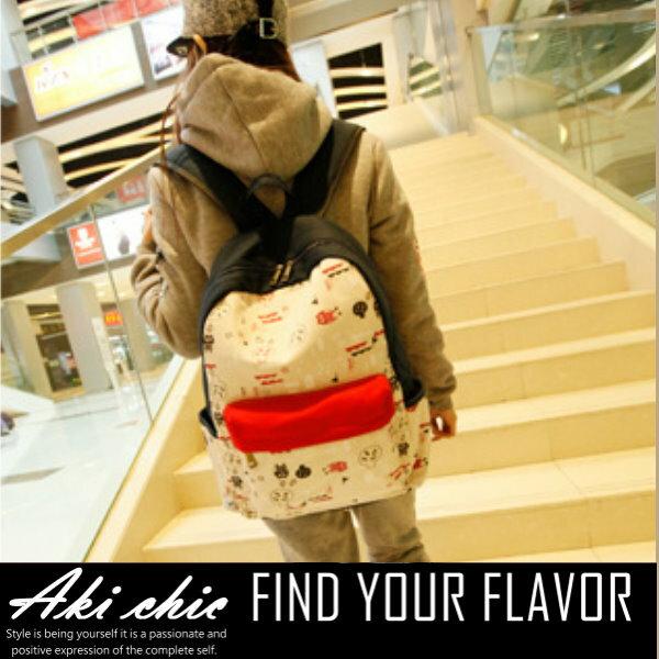 AKI CHIC【b241】韓款可愛貓頭鷹塗鴉拼色帆布學院旅行休閒手提側肩後背包