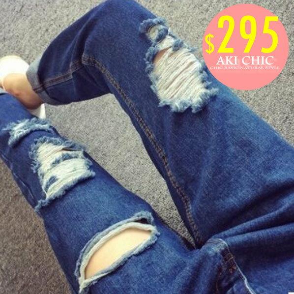 AKI CHIC【c092】韓款街頭潮流個性刷破水洗牛仔褲