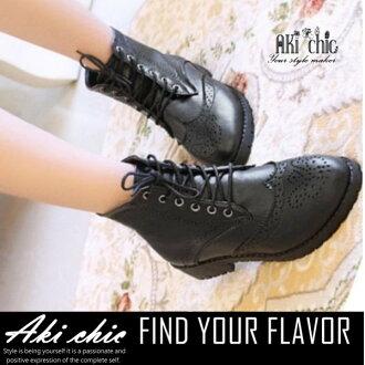 AKI CHIC【s097】秋冬款日系時尚復古雕花綁帶馬丁短靴