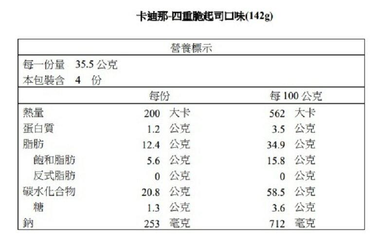 【卡迪那】四重脆起司口味(142g)