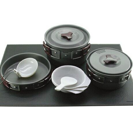 RHINO K-3 三人鋁合金套鍋 Cooking Set 陽極硬化處理/黑鋁
