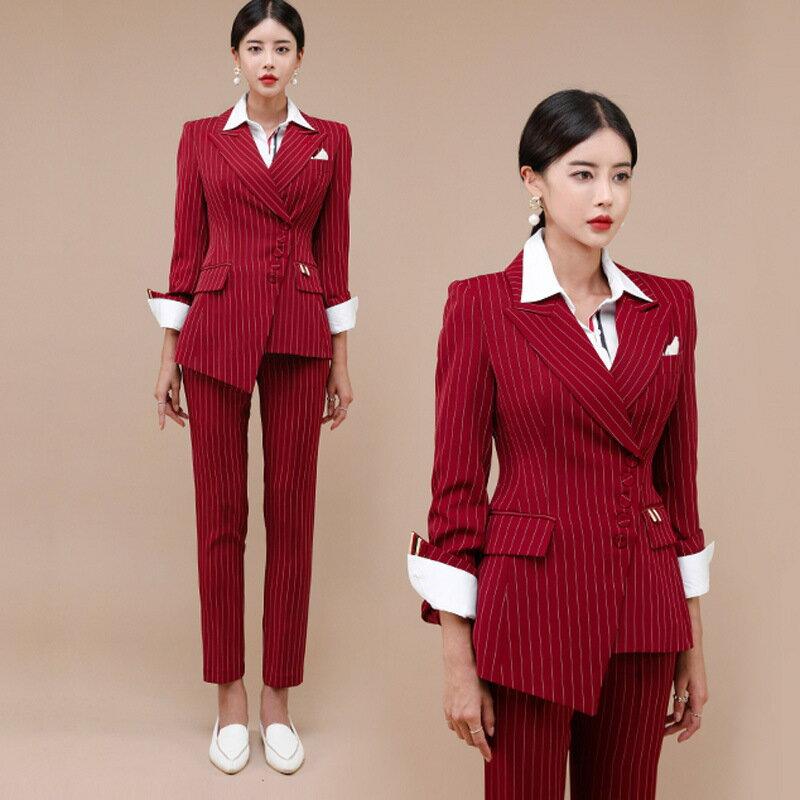 女裝2021新款韓版氣質OL修身條紋西裝外套時尚女褲職業套裝