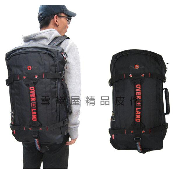 ~雪黛屋~OVERLAND後背旅行袋多功能可A4資料夾可後背可手提肩背斜側背可14吋電腦防水尼龍布固定拉桿T2745