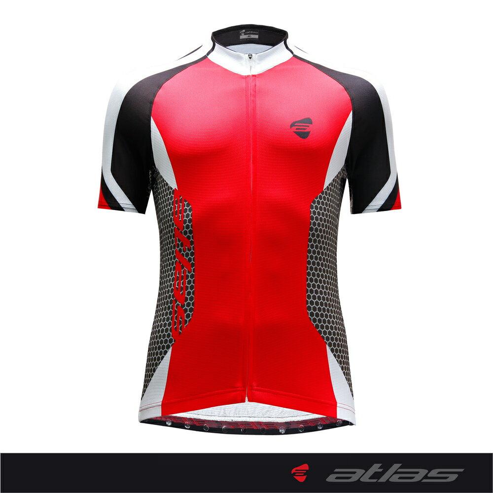 Atlas 亞特力士 Italy設計短袖車衣-基本款 HJ-1182-2(紅) 24℃~30℃
