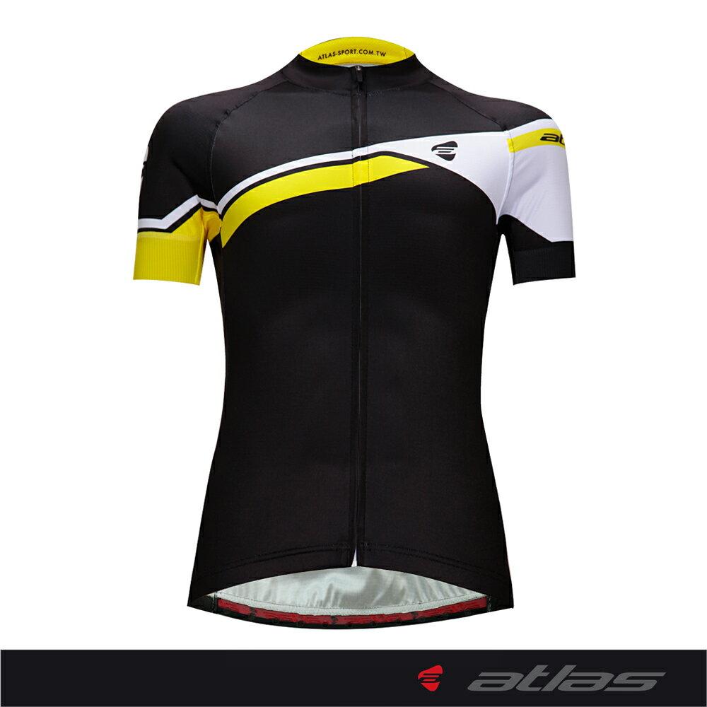 Atlas 亞特力士 Italy設計短袖車衣-舒適版 HJ-1224-2(黑黃) 24℃~30℃