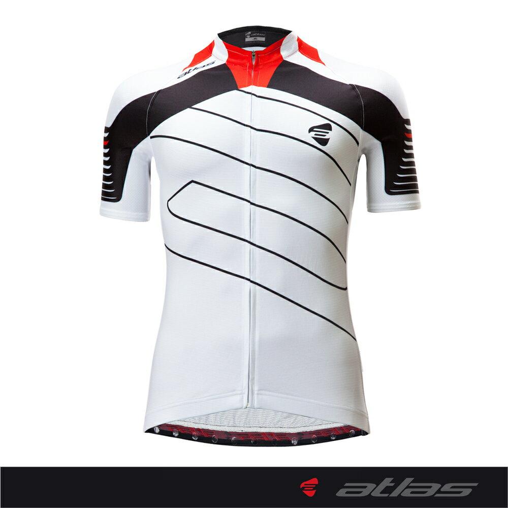 Atlas 亞特力士 Italy設計短袖車衣-基本款 NJ-167-1(白/紅) 24℃~30℃