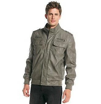 [美國精品櫥窗]Calvin Klein Faux Leather Bomber Jacket正品 真皮 精品 男皮衣外套(S)