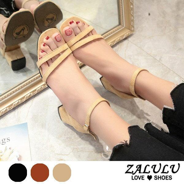 ZALULU愛鞋館7DE156小女人交叉線條低跟涼鞋-黑棕米-35-39