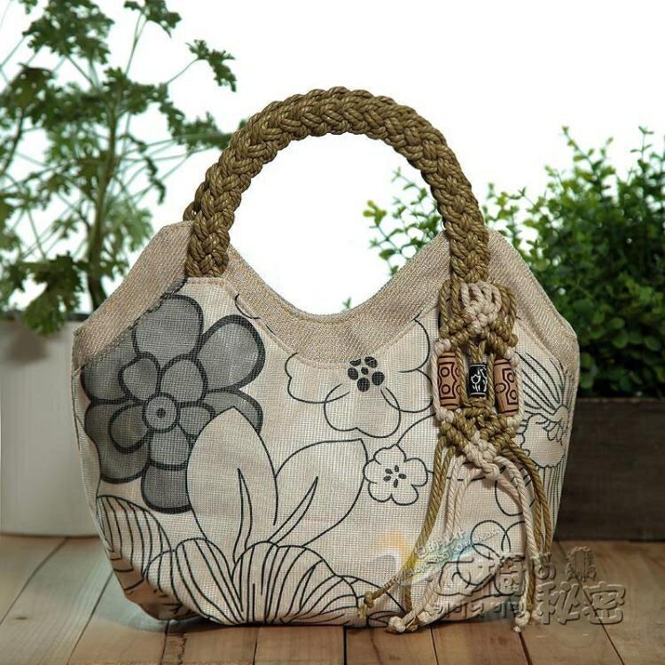 新款手提包女包布包民族風包包文藝小手提包手工編織手提包手拎包