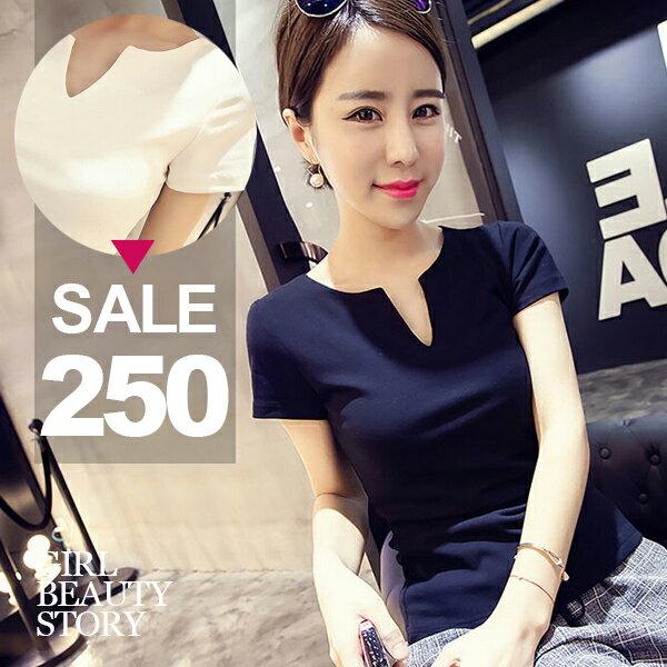 SiSi Girl:SISI【T6082】休閒舒適韓版V領百搭修身純色短袖T恤上衣