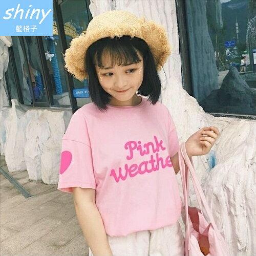 shiny藍格子:全店滿600折50【V1845】shiny藍格子-日系甜美.字母印花愛心袖圓領短袖上衣