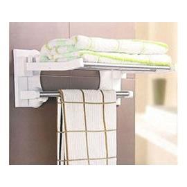 雙慶衛生間必備 強力吸盤雙層折疊浴巾架毛巾架(品質保證 )