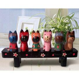 精緻木質巴厘貓--小貓排排坐(小貓高度:5.5cm,長凳尺寸 18.5*3.5*3.5cm)
