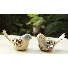 陶瓷動物窯變擺件-小鳥鏤空(17x9x12cm)(2只/套)