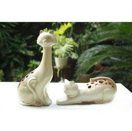 陶瓷動物窯變擺件-貓鏤空(11x7x23/21x8x7cm)-01(2只/套)