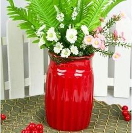 朱紅陶瓷花插 花器/花瓶/花盆(朱紅色)(高22.5cm 上口徑14cm 下口徑13cm)