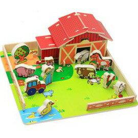 新品歡樂農場DIY立體拼搭拼插積木益智玩具木制拼板啟蒙玩具-7701005