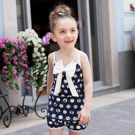 女 夏裝 休閒圓點兒童套裝 兩件套~7001002