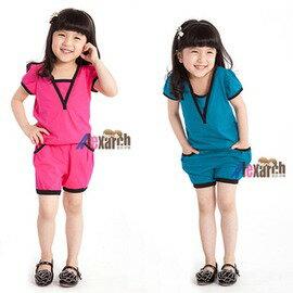 夏款女 夏裝 純棉撞色兩件套兒童套裝~7001002 ~  好康折扣
