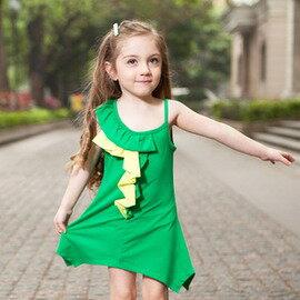 夏裝新款 女童裝 荷葉邊撞色兒童裙連衣裙-7001002