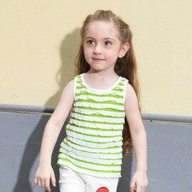 夏裝 女 無袖T恤 兒童背心 條紋千層荷葉衫~7001002