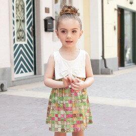 夏裝新款 兒童裙 女童裝 拼接人棉連衣裙-7001002