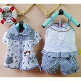 女童服裝嬰兒衣服6-12個月2歲 寶寶三件套裝夏可開檔-7701007