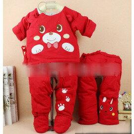 新生兒男女寶寶嬰兒包腳棉衣 套裝剛出生棉服 三件套~7701007