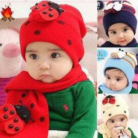 嬰兒帽子+圍巾 女寶寶小帽子 嬰幼兒童帽秋冬款 韓版潮套裝0-2歲-7701007
