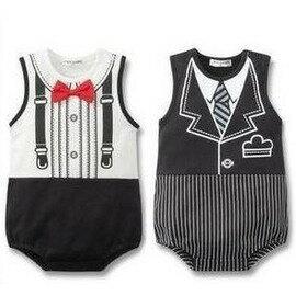 寶寶衣服嬰兒服裝 韓版夏裝小童裝 男童歲1-2歲嬰哈衣 紳士連體衣-7701007