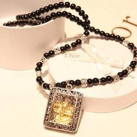 ~佛珠掛鏈項鍊~泰黑瑪瑙男女款琺瑯扣佛珠掛鏈項鍊配飾~7001010