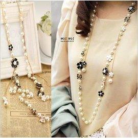 【珍珠毛衣長項鍊】聖誕禮品韓國飾品衣服配飾配件長項鍊裝飾韓版珍珠毛衣鏈淑女可愛-7001010