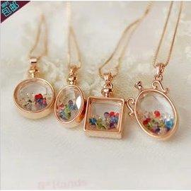 【項鍊】韓版飾品 玫瑰金色 彩鑽 漂流瓶項鍊 女短款鎖骨鏈配飾掛飾掛鏈-7001010
