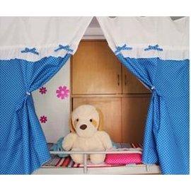 【學生床幔蚊帳1米(3.3英尺)】全封閉學生床簾寢室宿舍 藍色波點可愛公主-7101011