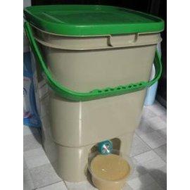 【家用自製蔬菜有機肥堆肥桶19升+1kgEM+工具】口徑28.5*28.5*41cm-5101001