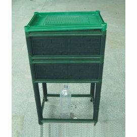 【蚯蚓工廠-雙層架空3節】堆肥箱 種植箱 有氧發酵有機肥 自動分離 45*32*80.5cm-5101001