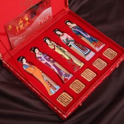 【梳篦禮盒-仕女圖/鴛鴦對梳-1款/組】特色工藝品木梳子手工彩繪 生日祝福禮物兩款可選-30011