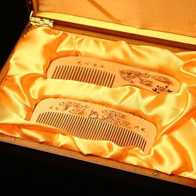 【梳篦禮盒-龍鳳二件套-1款/組】特色工藝禮品常州梳篦 黃楊木梳子 禮品 婚慶商務用品-30011