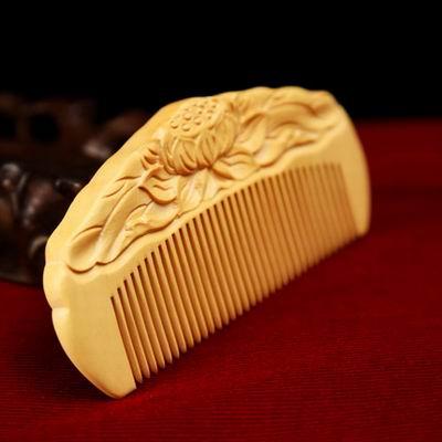 【小葉黃楊木梳篦-128(精裝)-多款可選-1款/組】特色工藝品包包木梳子便攜木梳子(不含木架)-30011