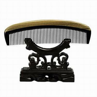 【綠檀牛角梳-39(精裝)-魚兒型/實用型-1款/組】特色工藝品保健祝福禮物兩款可選(不含木架)-30011
