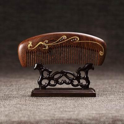 ~雞翅木梳~86^(精裝^)~金鳳凰 幸福列車~1款 組~特色工藝品木梳子祝福 兩款^(不
