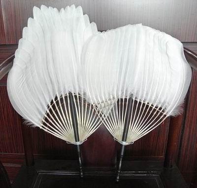 ~白天鵝羽毛扇~烏木柄~白天鵝毛~平頭 分叉頭~1把 組~南京老字號高淳民間工藝特產羽毛送