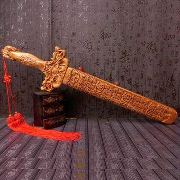 【桃木劍-雙龍戲珠-60cm-1把/組】肥城天然桃木 掛件百福雙龍劍木雕工藝品鎮宅辟邪兩款可選-30041