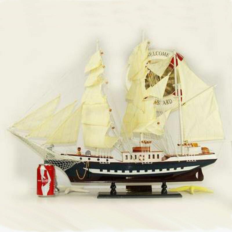 【帆船模型-貝倫號60-長60*10*高48cm-1套/組】地中海裝飾模型船擺件大型木質帆船模型 一帆風順-30117