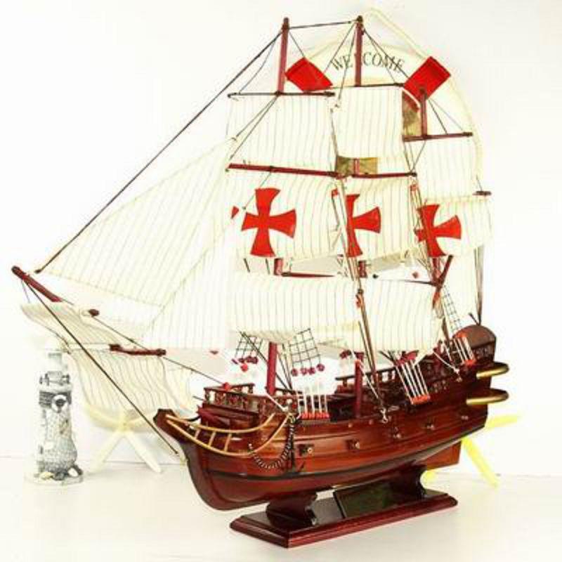 【帆船模型-聖瑪麗亞號60-長60*13*高48cm-1套/組】地中海裝飾模型船擺件大型木質帆船模型 一帆風順-30117